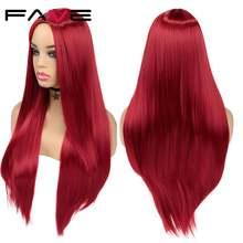 Длинные прямые синтетические парики fave темно красные оранжевые