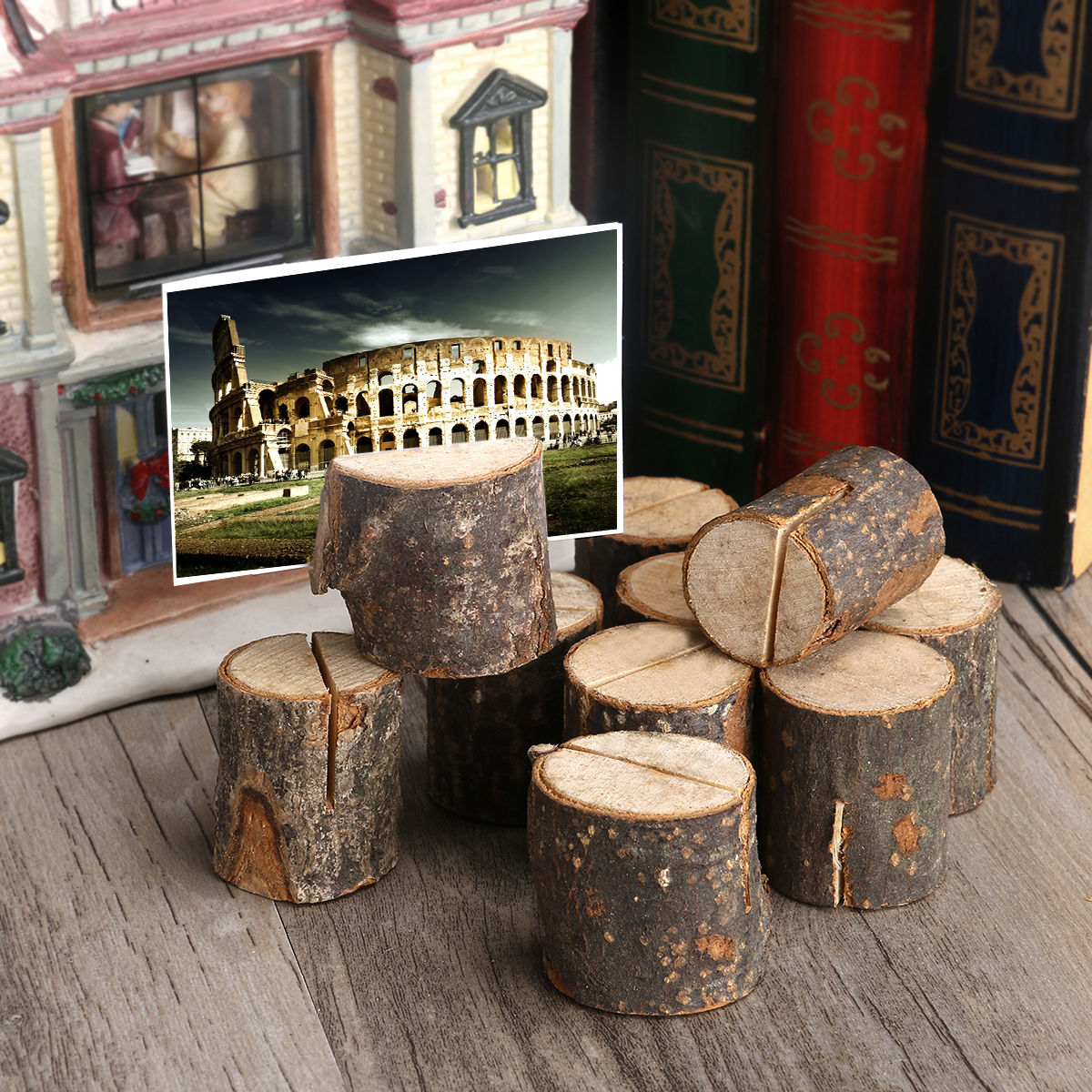 Round Wooden Card Rack Rustic Wedding Photo Holder Picture Name Card Table Wooden Place Stand Party Supplies Home Decorative Figurines Miniatures Aliexpress