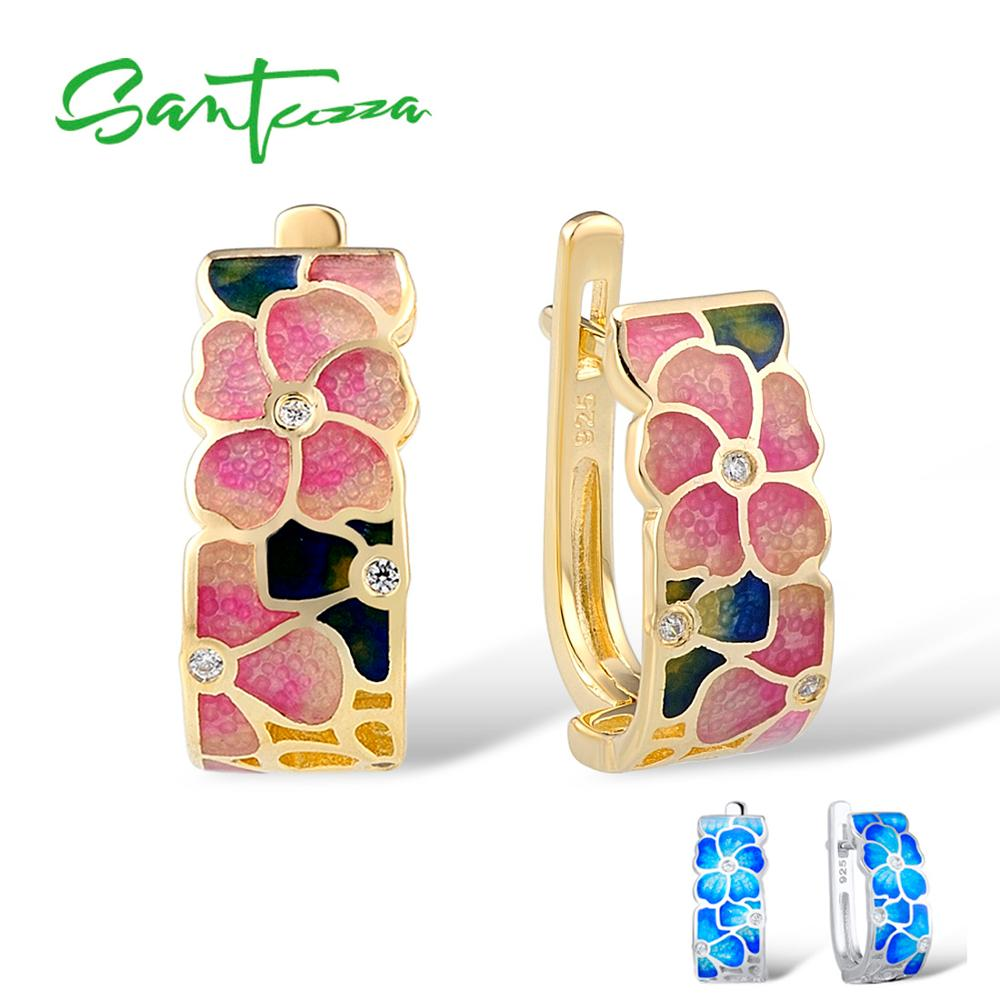 SANTUZZA Silver Earrings For Women 925 Sterling Silver Stud Flower Earrings Gold Color Cubic Zirconia brincos Jewelry Enamel