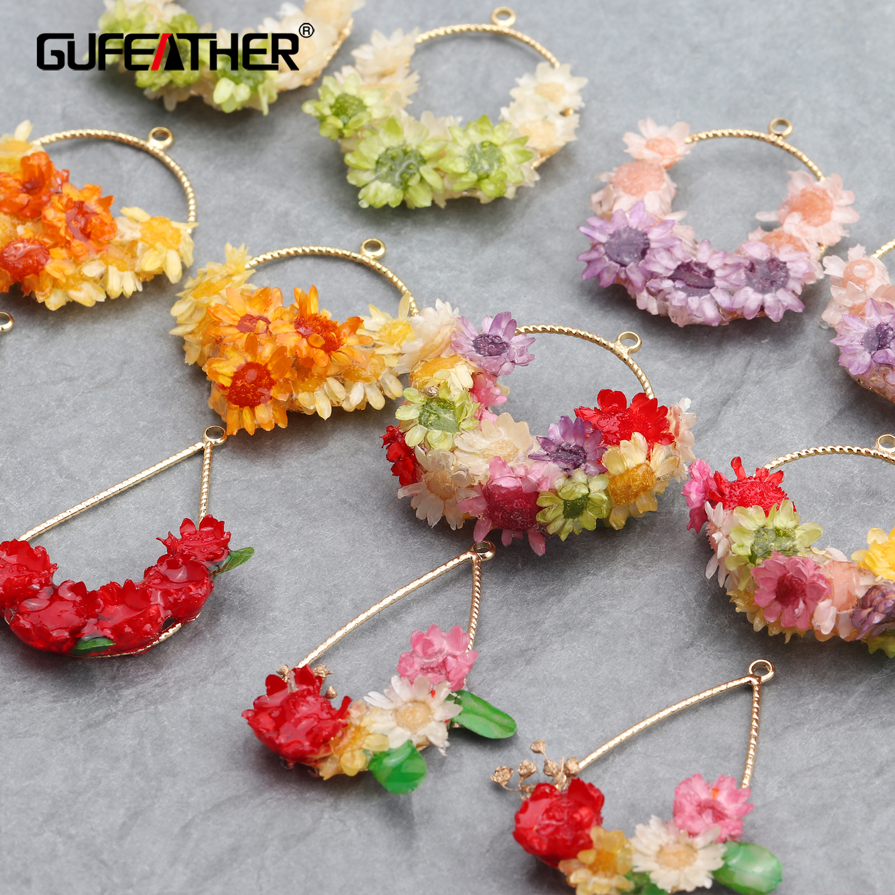 GUFEATHER M623,jewelry Accessories,18k Gold Plated,dried Flower,diy Pendant,copper Metal,diy Earrings,jewelry Making,4pcs/lot