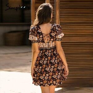 Image 4 - Simplee Blackless floral print dress Summer high waist puff sleeve ruffled boho dress Streetwear ladies ruched a line mini dress