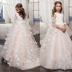 Blume Mädchen Kleider für Hochzeit Schmetterling Prinzessin Tutu Spitze Appliqued Spitze Up Vintage Mädchen Erstkommunion Kleid