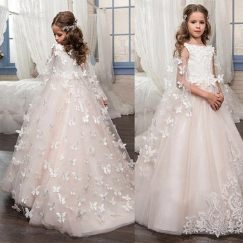 Flower Girl Dresses for Wedding Butterfly Princess Tutu Lace Appliqued Lace Up Vintage Girl First Communion Dress