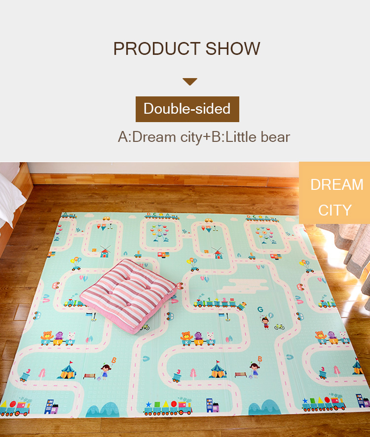 H9854505c25384d0bae9a1a82f6520ef3q XPE Folding Baby Play Mat 1cm Thick Crawling Toys for Children's Carpet Climbing Gyme Game Road Pad Living Room Home Kids Rug