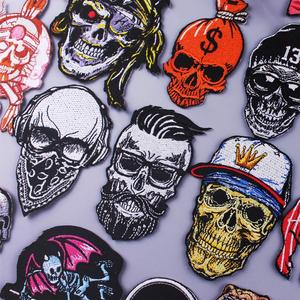 Punk/Skull Patch Iron On Patches On Clothes Embroidered Patches For Clothing Embroidery Patch Stickers Orangutan Applique Stripe
