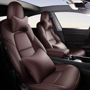 Image 4 - Mode Auto Speciale Lederen Bekleding Voor Tesla Model 3 2019 2020 Auto Decoratie Interieur Accessoires Protector Kussen 1 Set