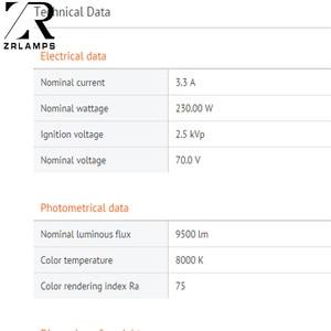 Image 3 - ZR คุณภาพสูง 7R 230W YODN โลหะ Halide โคมไฟ Moving Beam 230 Beam 230 SIRIUS HRI230W สำหรับ Made จีน