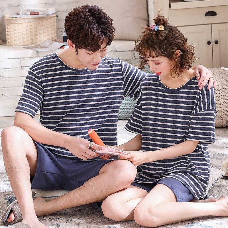 Pajamas Sets Couples Striped 100% Cotton Cartoon Fashion Women Short Sleeve Sleepwear Suit 2 Piece Sexy Summer Home Lounge Gift
