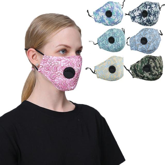 1set Women Cotton Mask Anti Dust Air Pollution Breath Activated Carbon Filter Black Mouth Mask Men Reusable Face Masks