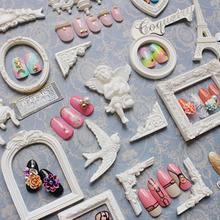 1 Juego de marcos de fotos de resina para manualidades, decoración del hogar, decoración del hogar, corazón de Ángel Vintage, adornos rectangulares para álbum de recortes