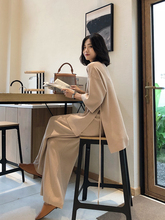 Oversized Sweater Suit Ladies Lace-Up Sportswear 2-Piece Set Spring and Autumn Knit Suit Casual Pullover Wide-Leg Pants
