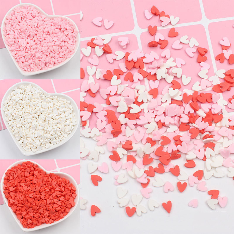 100g Love Heart Slices Fimo Polymer Clay Sprinkles For Crafts Plastic Klei Tiny Mud Particles DIY Nail Art Slime Accessories 5mm