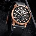 RUIMAS Роскошные повседневные автоматические мужские часы лучший бренд из натуральной кожи ремешок Механические наручные часы Relogios Masculino 6768G