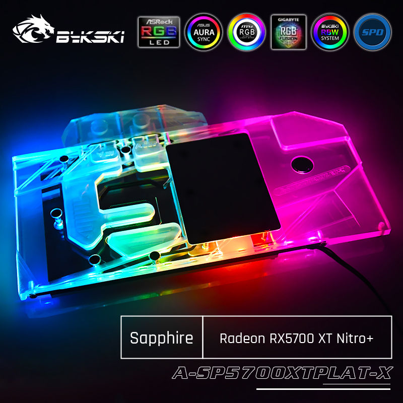 Bykski A-SP5700XTPLAT-X GPU Water Cooling Block For Sapphire Radeon RX 5700 XT Nitro+ Computer Component Heat Dissipation