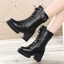 Boots Women Botas Motorcycle Gothic Winter Shoes Women Punk High Heel Ladies Booties Thick-Soled Cross-Strap Womens Boots Black