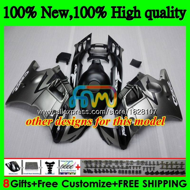 + Kits de tanque Para HONDA CBR600FS CBR600F3 1995 1996 97 98 3BS. 299 CBR600 F3 CBR 600 FS 600F3 Hot Cinza 95 96 1997 1998 Carenagem preta - 5