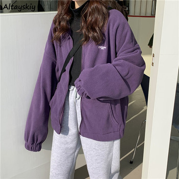 Jackets Women Loose Plus Velvet Zip-up Pockets Letter Casual Oversize BF Ulzzang Harajuku Daily Streetwear Womens Trendy New Hot
