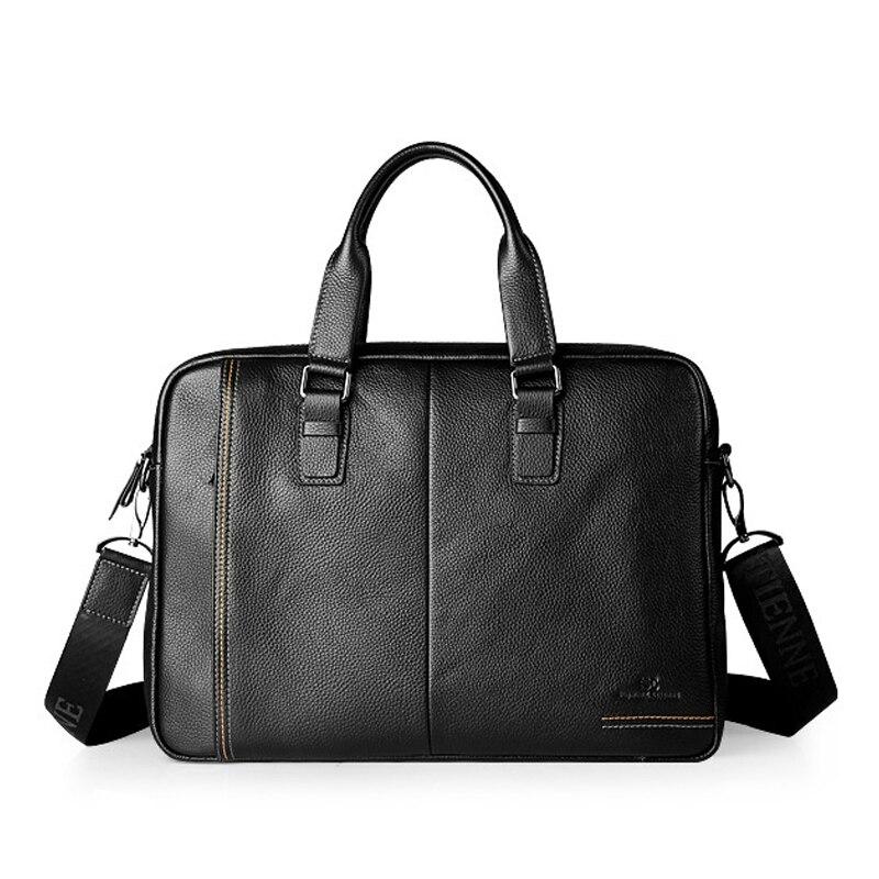 Neue Mode Aus Echtem Leder Berühmte Marke männer aktentasche, 15,6 zoll kommerziellen laptop aktentasche, kreuz-körper schulter tasche