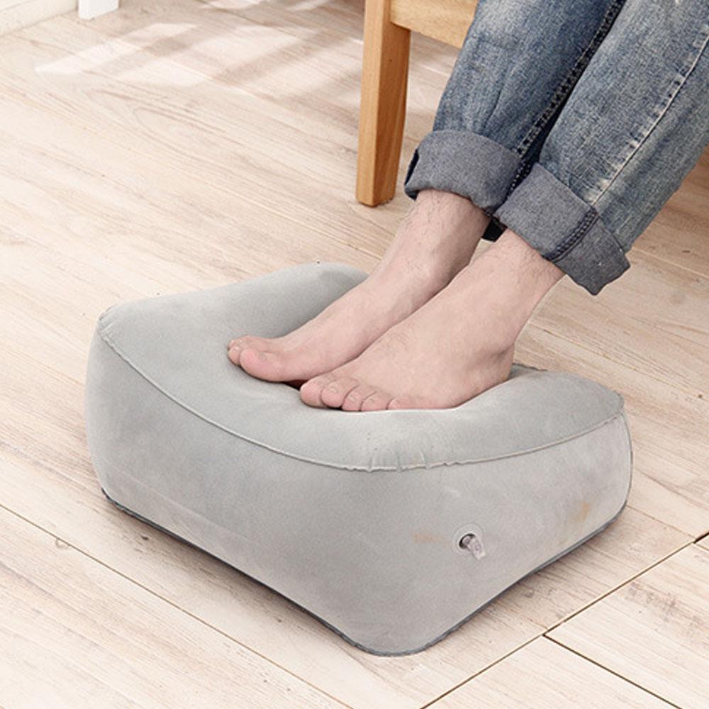 Inflatable Footrest Pillow Pad Mat Portable Travel Flocked Foot Rest Pillow Cushion Kids Bed Feet Leg Up Relief Air Pillows
