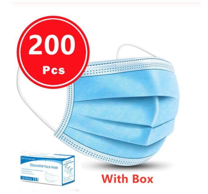 200pcs Non-woven Meltblown Masks 3 Layer Anti-Dust Cozy Qualified Masque Disposable Face Mask Prevent Virus Safe Protective Mask