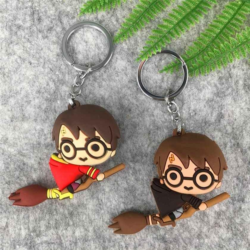3D Гарри Поттер ПВХ брелок игрушка Добби Гермиона Грейнджер Малфой Рон Уизли Снейп фигурка игрушки вечерние Косплей кольцо для ключей из ПВХ