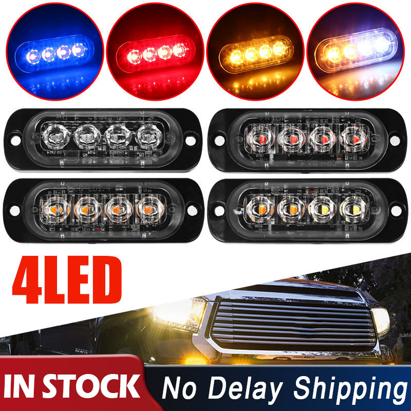 4LED 12W 12-24V Auto Cars Flashing Recovery Lightbar Warning Light Caution Lamp