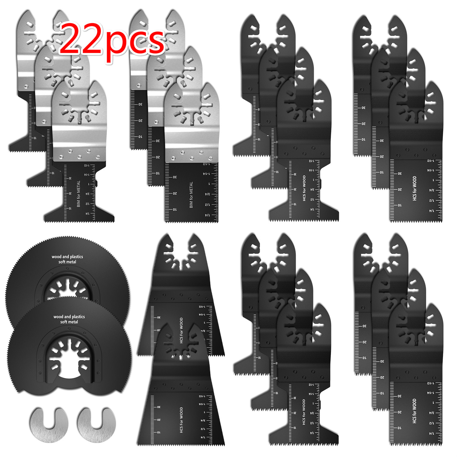 22pcs Oscillating Multi Tool Saw Blade Kit High Carbon Steel Wood Cutting WoodWorking Blades Accessories For Plastic