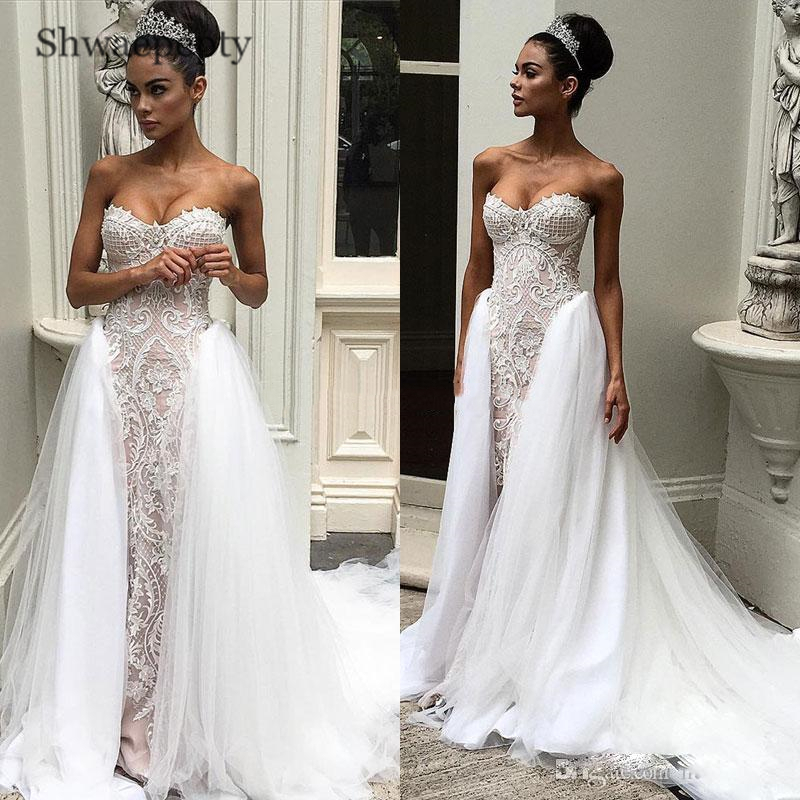 Dresses Train Vestidos Appliques Bridal Sweetheart Overskirts Novia With Detachable Strapless De Lace Shwaepepty Wedding Gowns