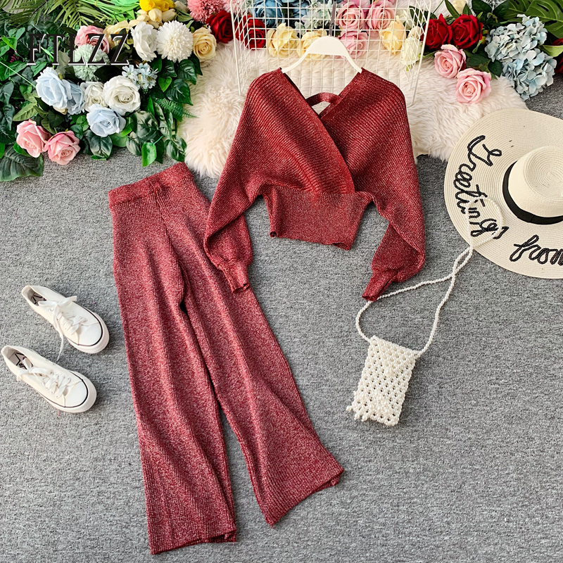 Autumn Winter Vintage Two Piece Set Women Fashion Batwing Sleeve Sweater Tops + Loose Straight Pants Knitted Suits Woman Outfit