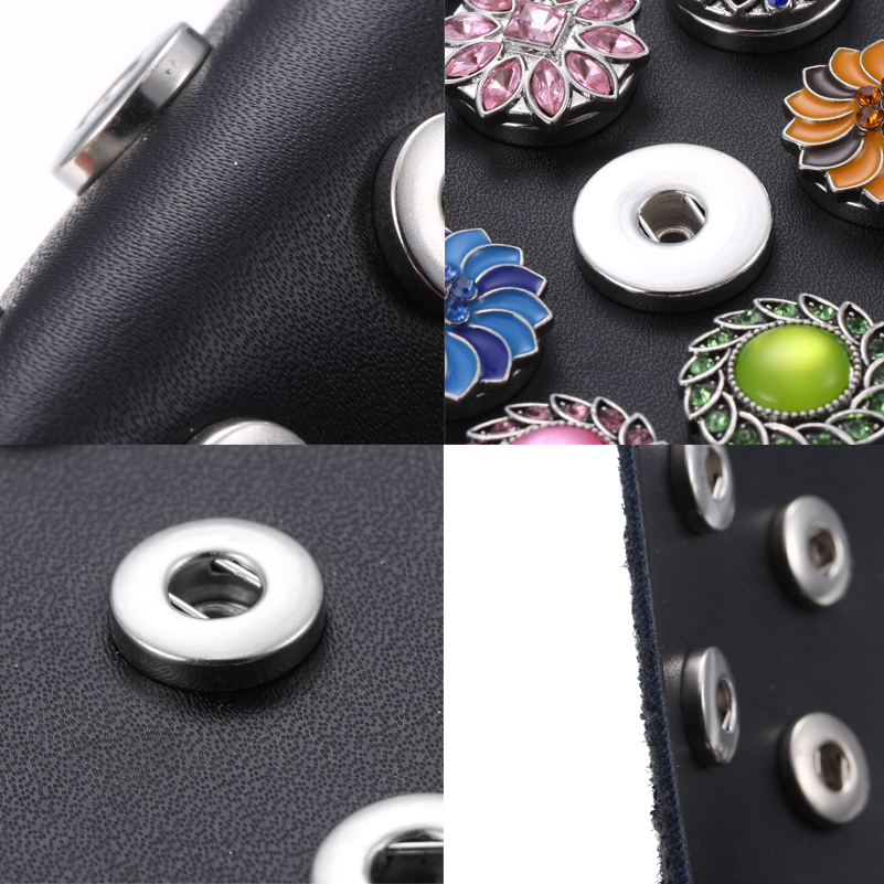 New Snap Button Jewelry Black Leather Snap Display for 24pcs 18MM 12MM Snap Buttons Jewelry Display Soft Displays Holder in Charm Bracelets from Jewelry Accessories