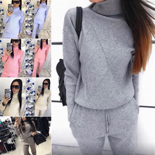 Winter Knitted Turtleneck Tracksuit For Women Outfits Matching Trousers+Turtleneck Sweater Women's Suit Warm Female Clothing turtleneck adze turtleneck
