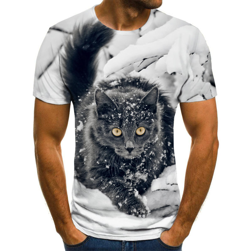 Summer 2020 new 3D printed T-shirt animal print men's T-shirt print casual T-shirt O-neck hip hop short sleeve size 110-6XL 3