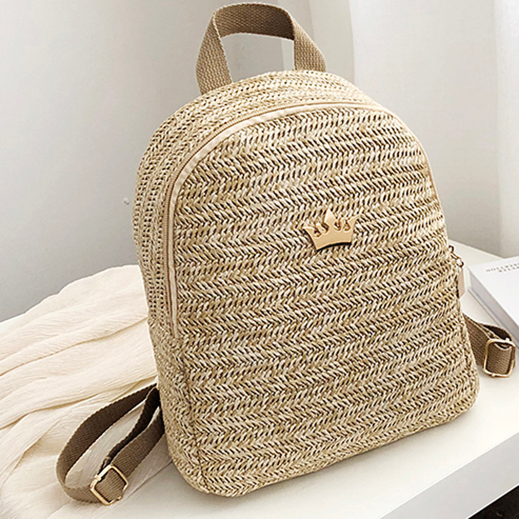 Women Cross Body Bag Round Circular Rattan Wicker Straw Woven Beach Basket Purse Fashion Ladies Outdoor Woven Square Backpa