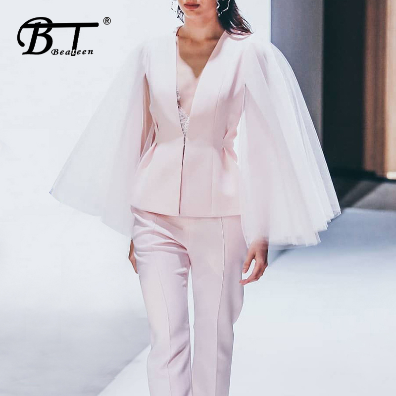 Beateen Women Trendy Two Piece Sets V Neck Mesh Cloak Sleeve Blazer Straight Pantsuits 2019 Autumn Fashion New Office Lady Suits