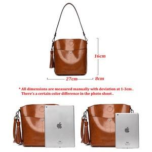 Image 5 - Yonder Black crossbody messenger bag womens genuine leather shoulder bag female bucket bag women High quality brown handbags