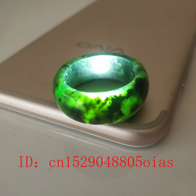 Natural Black Green Hetian Jade Ring Chinese Jadeite Amulet Obsidian Charm Jewelry Hand Carved Crafts Gifts For Women Men