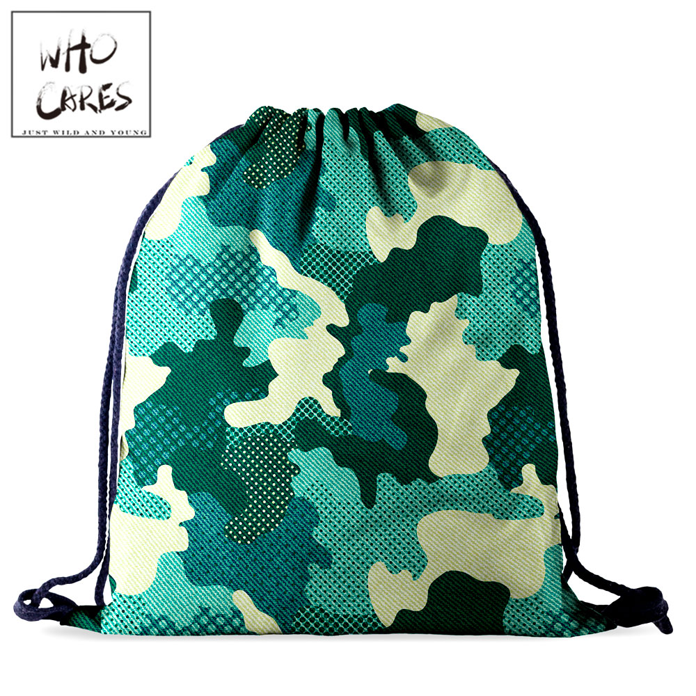 Who Cares Drawstring Bag Outdoor Camouflage Waterproof Travel Bag Fashion Portable 3D Printing Women Backpack