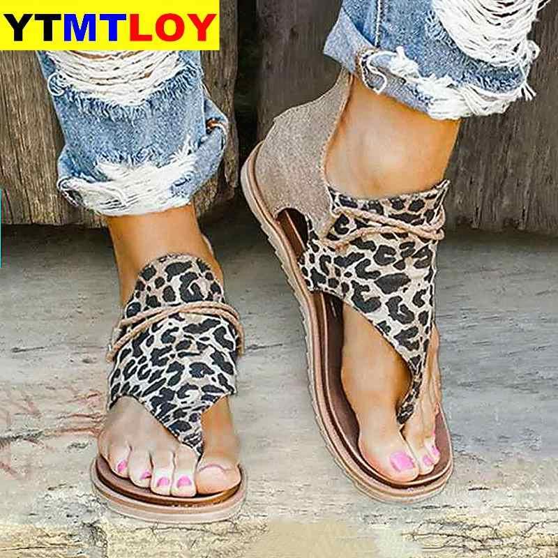 ผู้หญิงรองเท้าแตะเสือดาวพิมพ์ฤดูร้อนรองเท้าผู้หญิงขนาดใหญ่ Andals แบนผู้หญิงรองเท้าแตะสตรีฤดูร้อนรองเท้ารองเท้าแตะ