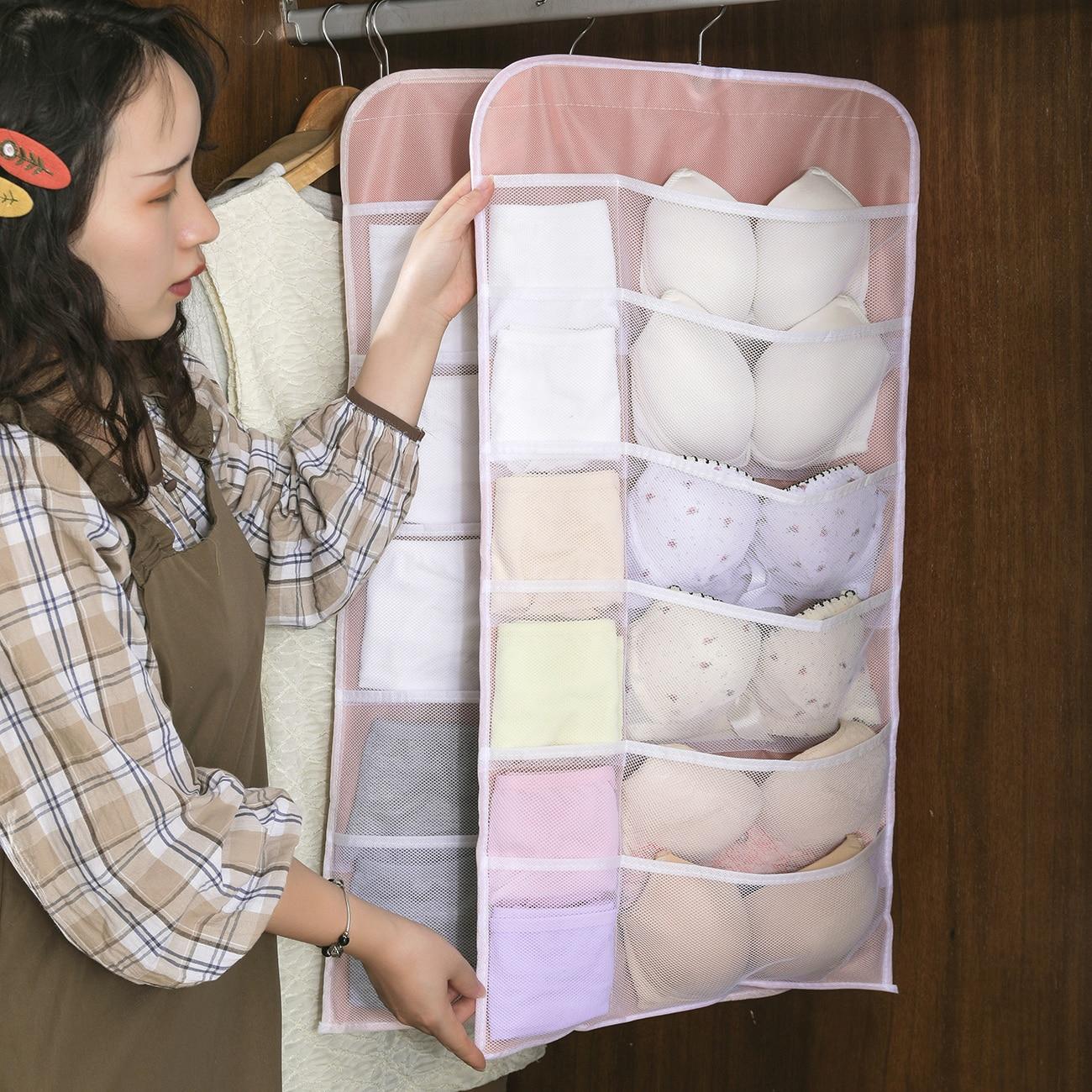 Underwear Storage Hanging Bag Wall Hanging Closet Panties Bra Finishing Artifact Double-Sided Hanging Storage Bag