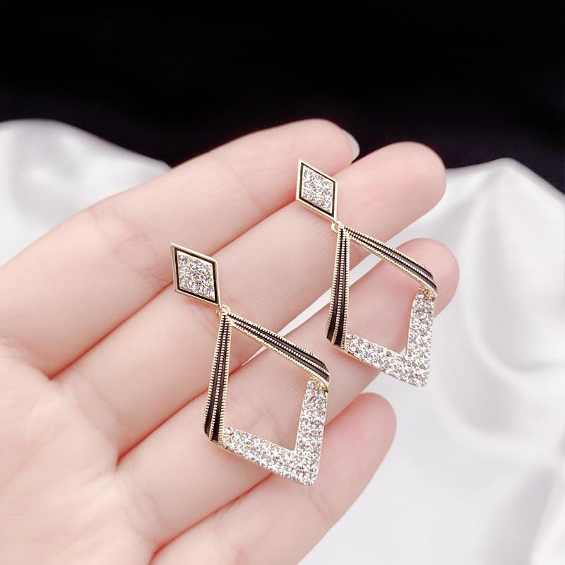 Trendy Crystal Geometric Women Dangle Earrings Geometric Earrings Bohemian Fashion Earrings For Women Statement