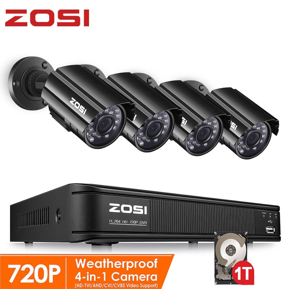 ZOSI 720P 8CH 4-in-1 CVBS AHD TVI CVI CCTV System Outdoor Nightvision Video Camera Security System Surveillance DVR Kit