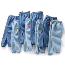 Spodnie dla dzieci Cartoon spodnie moda dla dziewczynek talia dżinsy dla dzieci chłopcy dżinsy z dziurami dla dzieci modne spodnie dżinsowe dla niemowląt Jean odzież dla niemowląt tanie tanio Na co dzień Pasuje prawda na wymiar weź swój normalny rozmiar Elastyczny pas Unisex Luźne Enzym prania JEANS Kids Jeans