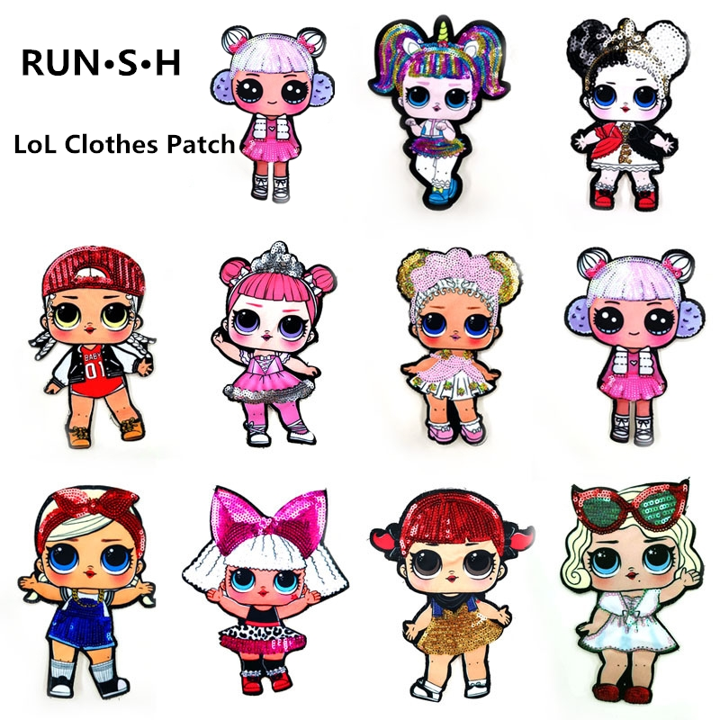 10 Pcs Girl Lol Clothes Patch Cute DIY Stickers T-shirt Patches For Clothing Sequin Embroidery Cloth Garment Accessories
