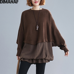 Image 3 - DIMANAF Oversize Autumn Women Sweater Knitting Pullovers Tops Plus Size Female Lady Fashion Casual Batwing Sleeve Basic Clothing