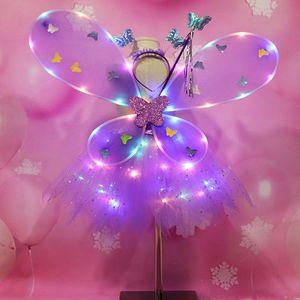 EDCRFV 1 комплект для женщин и девочек, ролевые игры, реквизит, мигающие крылья, юбка-пачка, светящаяся повязка на голову, волшебная палочка, взрослые детские костюмы косплей