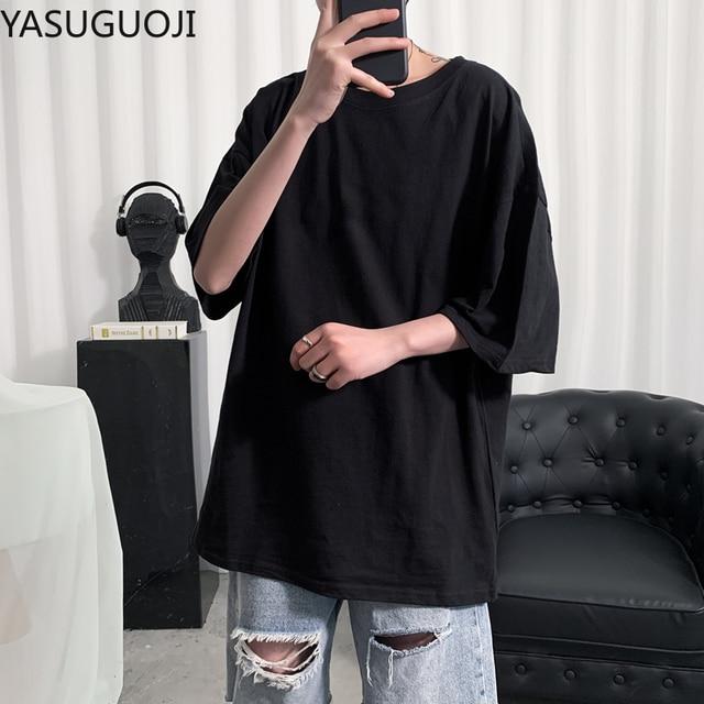 YASUGUOJI Plain Oversized T Shirt Men Bodybuilding and Fitness Loose Casual Lifestyle Wear T-shirt Male Streetwear Hip-Hop Tops 3
