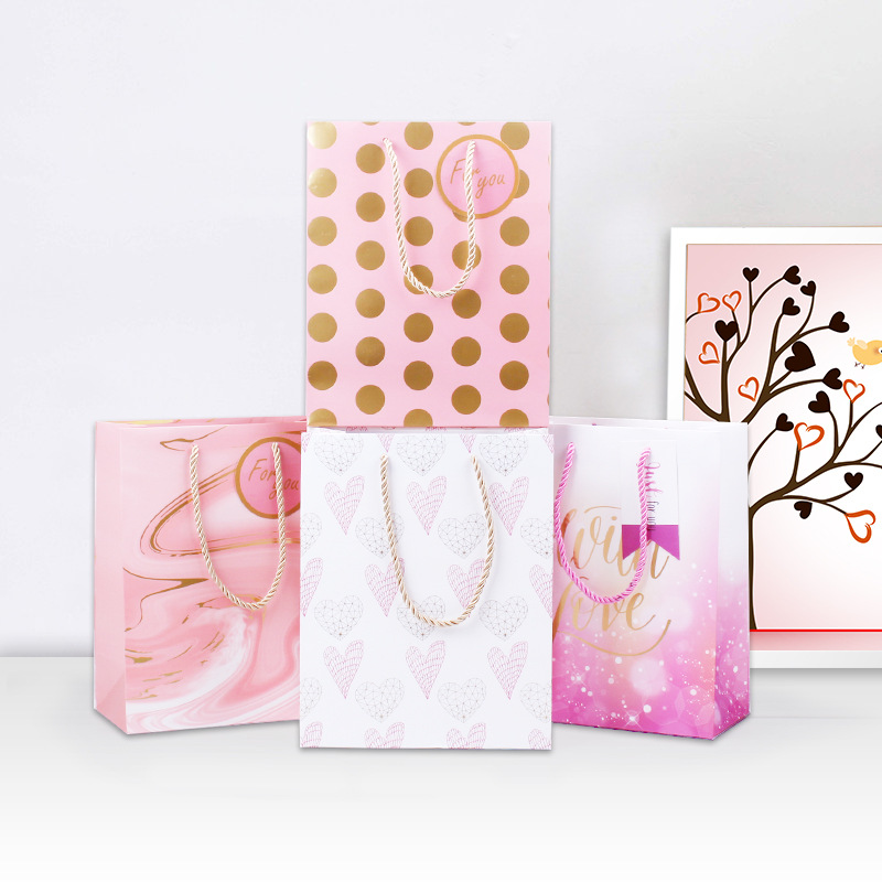 1pc/sell Pink Series Gift Bag Wrapping Packaging Paper 20x10x25cm Size File Pocket School Suppliers Gift Stationery