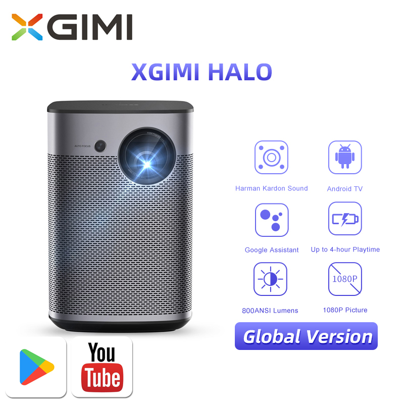 XGIMI Halo Full HD Portable Projector Global Version With Android TV 9.0 DLP WIFI Support 4K 3D Home Cinema for Home Theater