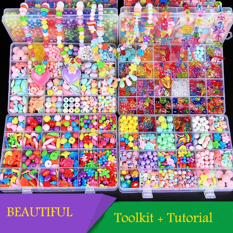24 grille bricolage perles à la main jouets pour enfants avec ensemble d'accessoires fille tissage Bracelet fabrication de bijoux jouets créatifs enfants cadeau