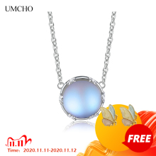 UMCHO  s925 Silver Aurora Pendant Necklace Halo Crystal Gemstone Scale Light Necklace for Women Elegant Jewelry Gift